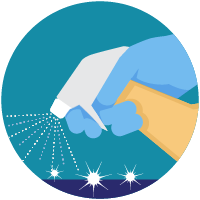 Illustratio: hand cleaning a counter using spray bottle