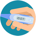 Illustration of a hand holding a thermometer