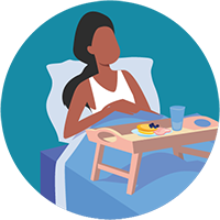 Woman eating in bed.