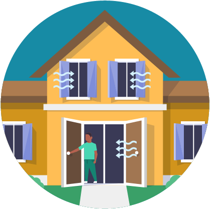 Illustration: man opening windows and doors of a house
