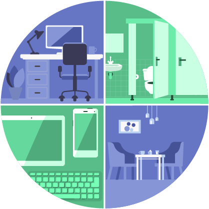 illustration: office, bathroom, cublicals, and sitting areas.