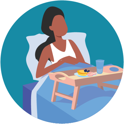 Illustration: sick woman in bed with serving tray full of food