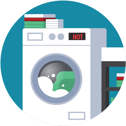 Illustration: washing machine displaying 'hot'