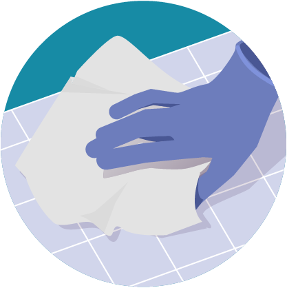 Illustration: hand cleaning with a paper towel