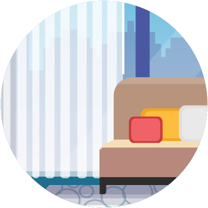 Illustration: soft surfaces - drapes, couch, pillows