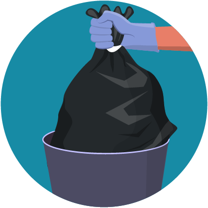 Illustration: gloved hand disposing trash into garbage pale