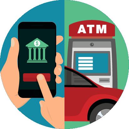 Ilustración: persona usando la banca en un dispositivo móvil y auto en un cajero automático.