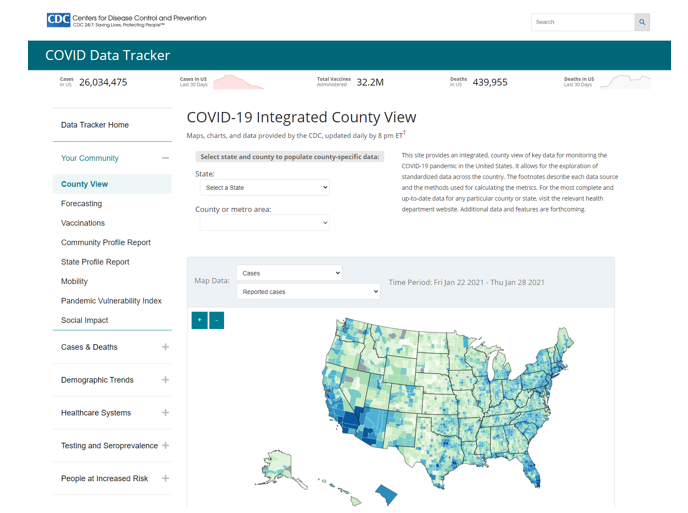 Image shows the COVID Data Tracker County data page.