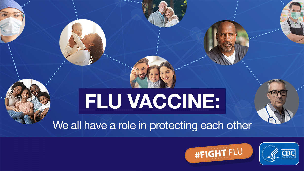 photo collage with text overlay: Flu Vaccine. We all have a role in protecting each other