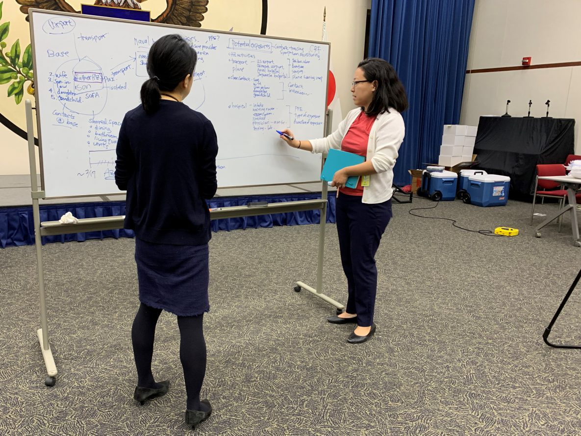 CDC epidemiologist Mitsuru Toda, right, and colleague Miwako Kobayashi lay out plans for potential cases of COVID-19 among Americans in Japan at the US Embassy in Tokyo in March.