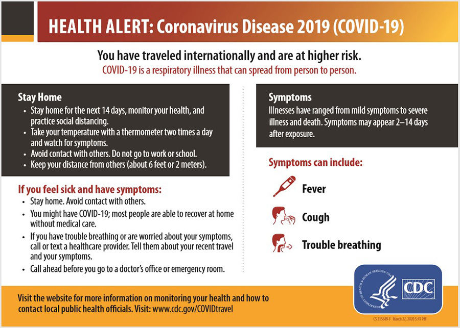 A Health Alert card for arriving passengers about Coronavirus Disease 2019 (COVID-19)