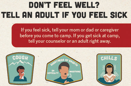 Encourage campers to tell an adult if they feel sick.