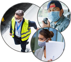 fotos de tres personas con mascarillas en sus lugares de trabajo