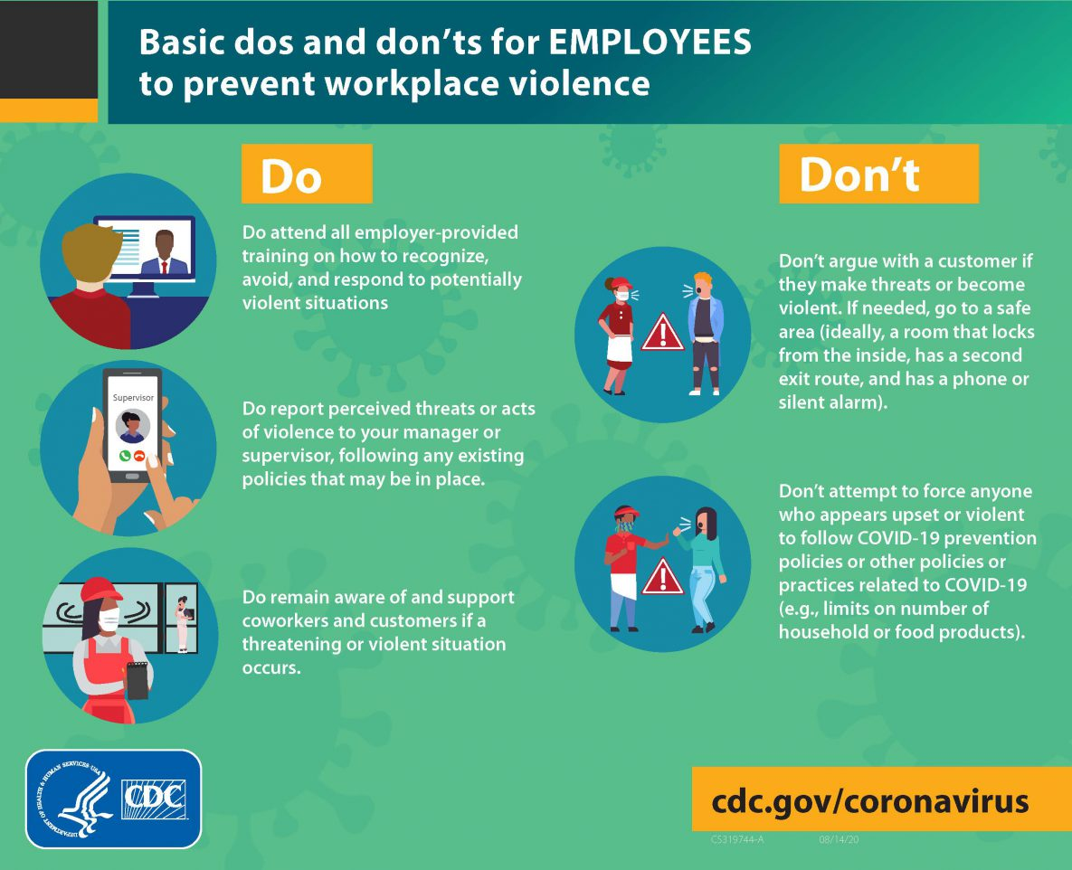 Infographic describing basic do's and don'ts for employees to prevent workplace violence.