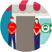 icon of two employees standing at the door of a storefront