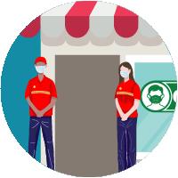 ícono de dos empleados parados en la puerta del frente de una tienda