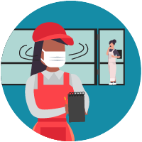 ícono de una empleada usando mascarilla con un anotador y observando el lugar de trabajo con un cliente en el fondo