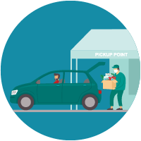 icon of person putting products in trunk of car