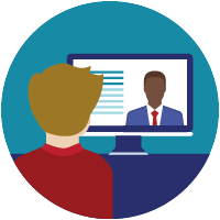 icon of person attending online meeting