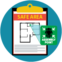 icon of clipboard with a map with the words safe area and assembly point