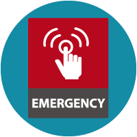 icon of red sign with the word EMERGENCY