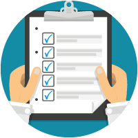 icon of someone holding clipboard with check list