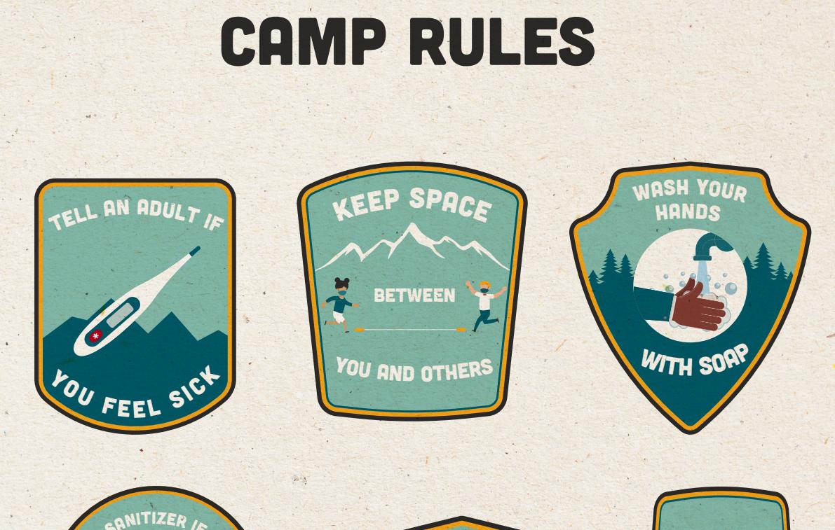 COVID-19 전파 방지에 일조한 캠프 참가자들은 뱃지를 받을 수 있습니다.