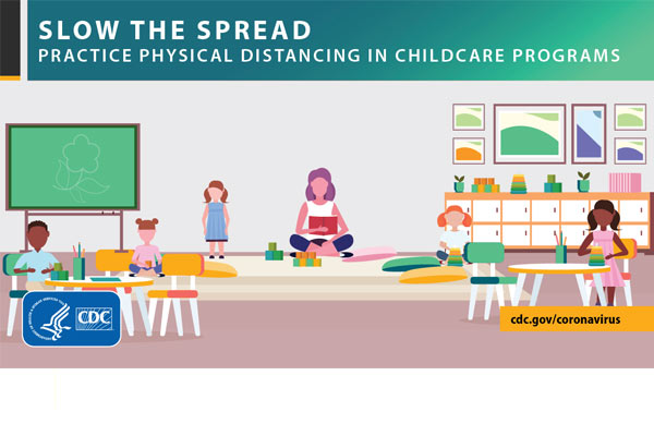 Slow the spread practice physical distancing in childcare programs