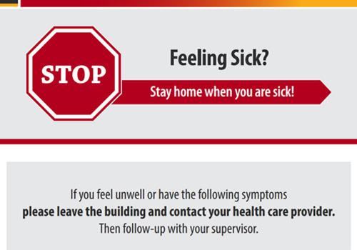 Áp-phích: Quý vị cảm thấy bị bệnh? Hãy dừng lại! Hãy ở nhà khi quý vị bị bệnh