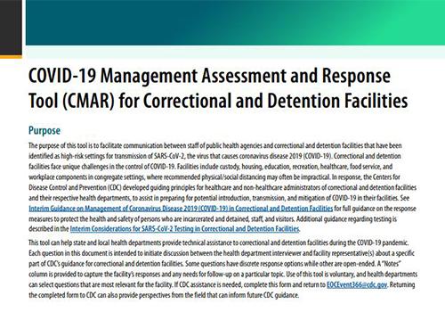 惩教和拘留机构COVID-19管理评估和应对工具(CMAR)
