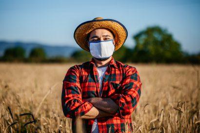 在燕麦田中的农民