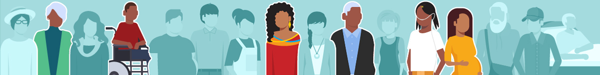 Banner illustration of diverse people in different situations