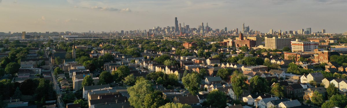 An aerial view from the south side of Chicago