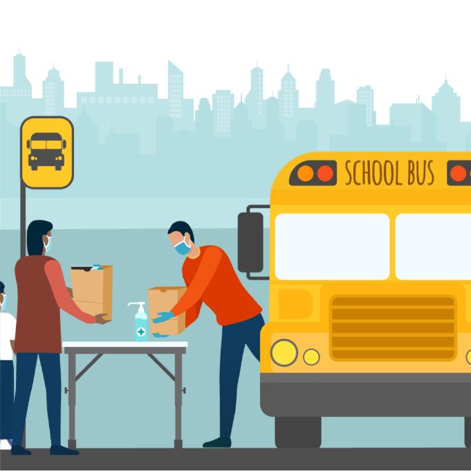 các chương trình dinh dưỡng học đường phân phối bữa ăn theo các điểm dừng đỗ và tuyến xe buýt.