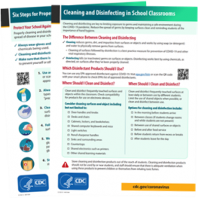 Image of 2 handouts for cleaning schools
