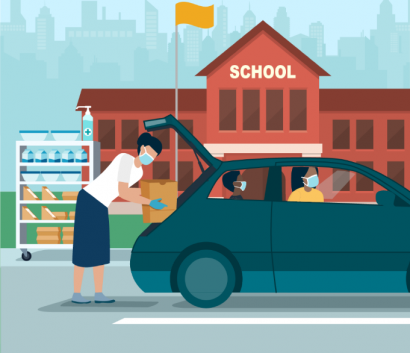 nhân viên trường học xếp các bữa ăn vào cốp sau xe.