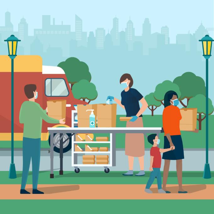 nhà vận hành chương trình dinh dưỡng học đường phân phổi đồ ăn tới các nhà và những địa điểm khác trong cộng đồng