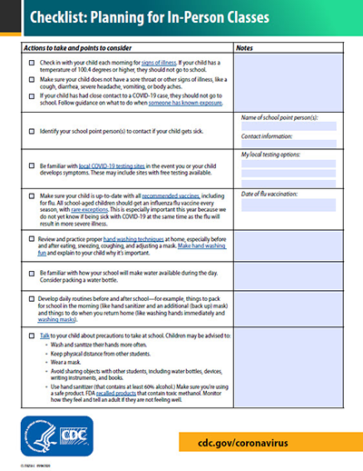 screenshot of checklist for planning for in-person learning at school