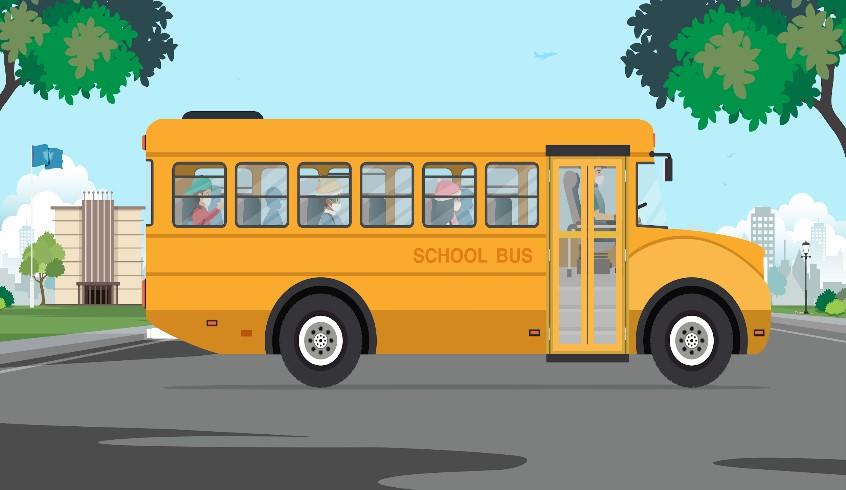 Xe buýt trường học có trẻ em bên trong
