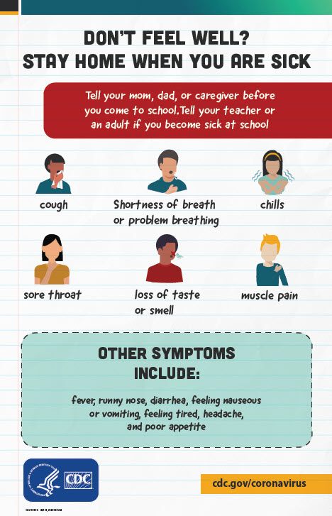 Don't Feel Well? Poster encourages students to tell a teacher if they feel sick