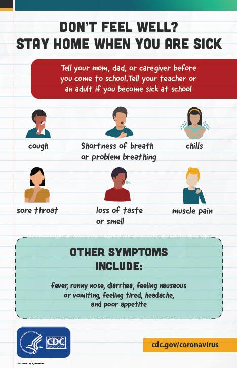 Quý vị cảm thấy không khỏe? Poster khuyến khích học sinh thông báo cho giáo viên nếu cảm thấy bị ốm