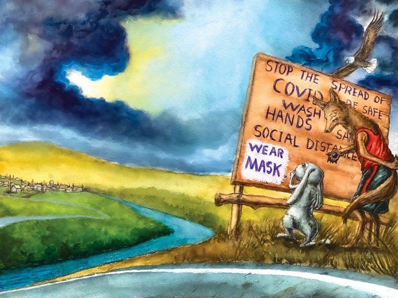 """Hình ảnh Cô Thỏ và Chú Chó Sói đọc biển báo ở đầu cộng đồng. Biển báo ghi rằng """"ngăn chặn sự lây lan của COVID, hãy rửa tay, duy trì cách ly giao tiếp xã hội và đeo khẩu trang""""."""