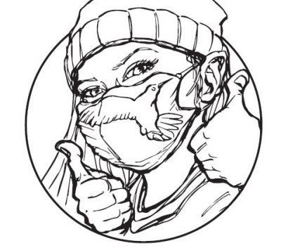 Hình ảnh Chú Chim Ruồi đội mũ, đeo khẩu trang và giơ ngón tay cái lên