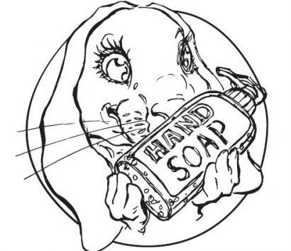 Hình ảnh Cô Thỏ cầm chai xà phòng rửa tay
