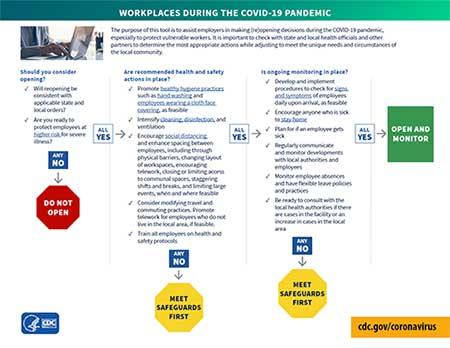 Árbol de ayuda para lugares de trabajo durante la pandemia del COVID-19 (pdf, vista en miniatura)