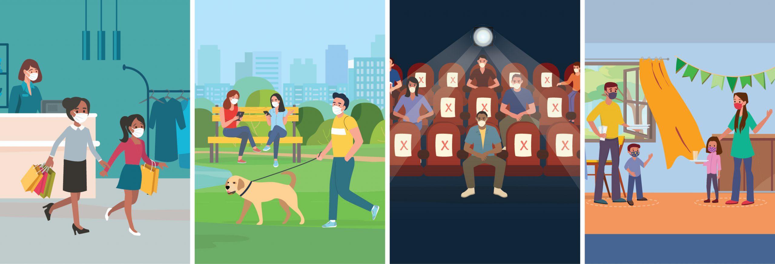 cuatro paneles que muestran personas comprando, en un parque, en un cine y durante una celebración en casa