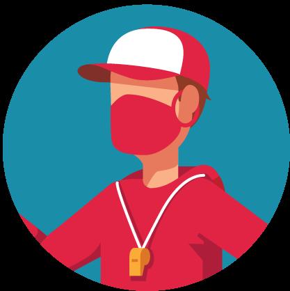 천 마스크를 착용한 스포츠 코치의 모습