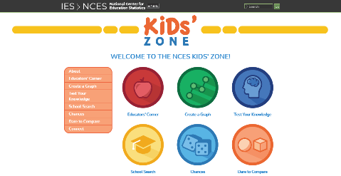 screen capture of National Center for Education Statistics Kids' Zone