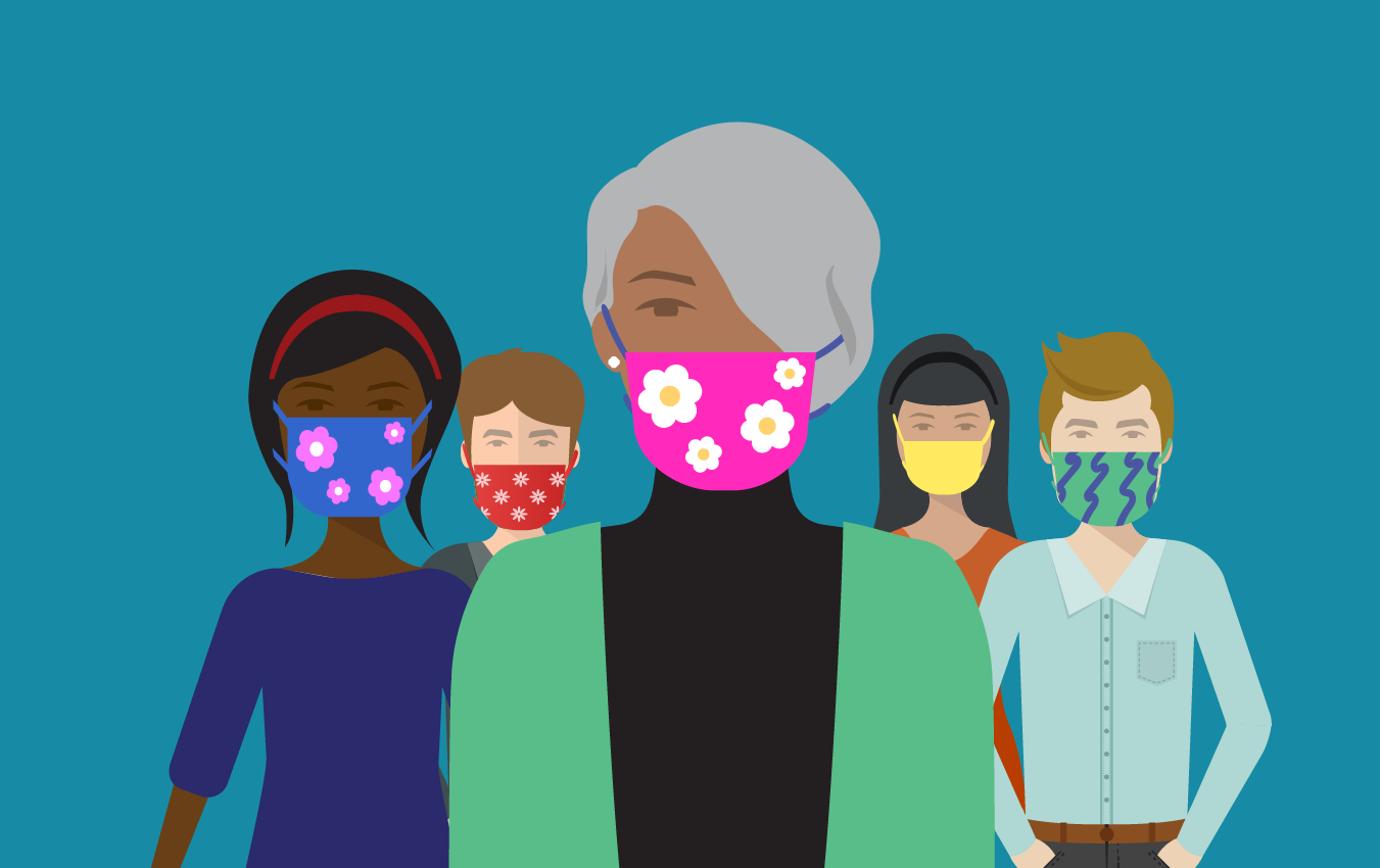 illustration of group wearing masks