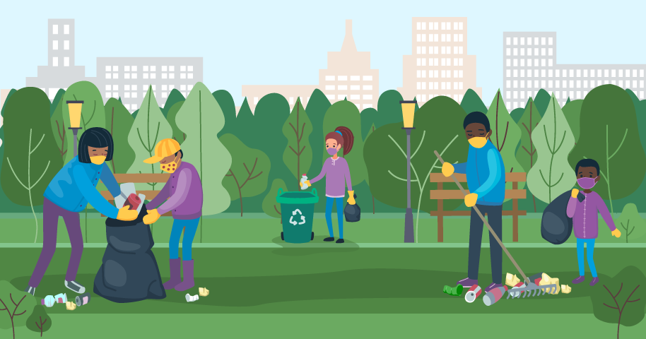 illustration of people wearing masks while cleaning up a park